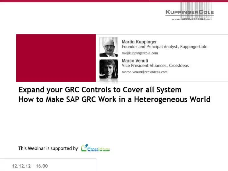 Expand your GRC Controls to Cover all Systems - How to Make SAP GRC Work in a Heterogeneous World