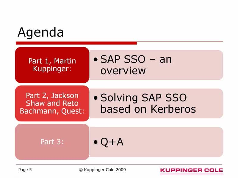 Single Sign On for SAP Environments - KuppingerCole